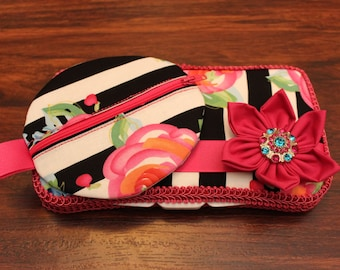 Wild Rose Black and White Stripe Wipe Case and Pacifier Pod Combo Set