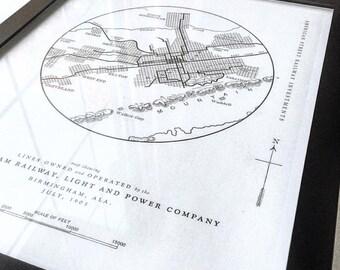 Vintage Birmingham Map Poster  |  Birmingham, Alabama