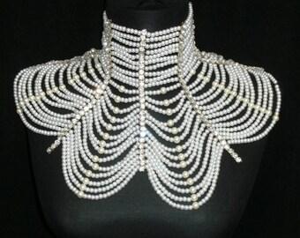 Bridal Shoulder Necklace, Wedding Shoulder Jewelry, Pearl Shoulder Necklace, Bridal Body Jewelry, Bridal Necklace, Wedding Shoulder Necklace