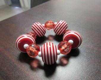 Red Striped Lucite Stretch Bracelet