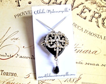 Vintage inspired lacy heart necklace - victorian necklace, vintage necklace, great gatsby necklace, downton abbey necklace