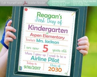SMART Editable First Day of School White Sign || Instant Download Digital Printable File || Kindergarten Preschool || Reusable! 8x10 16x20