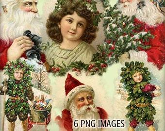 Vintage Christmas Blendable Image Sampler - Holly and Mistletoe - Vintage Santas - Christmas Holiday Clipart - 6 PNGS - Digital Scrapbooking
