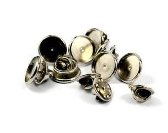 25 Pcs. Silver Tone 12 mm Bezel Setting Tie Tack Blanks Findings