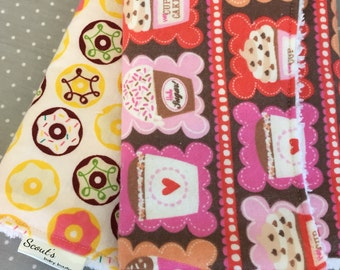 Baby Burp Cloths - Burp Rags - Gender Neutral - Baby Shower Gift -  Set of Two - Sweet Treats