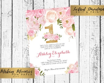 Pink and gold First Birthday Invitation, INSTANT DOWNLOAD Watercolor Flowers, One Invitation, birthday invitation, DIY, first Birthday,