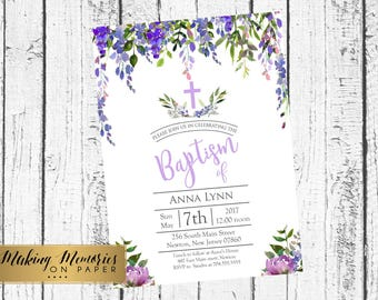 Purple Floral Baptism Invitation, lavender Watercolor, lavender  Roses Baptism, Christening, Dedication ,First Communion. Girl Baptism