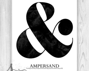 Ampersand Typography Print, Ampersand Art, Ampersand Wall Art, Ampersand Poster, & symbol and sign, Wall Decor, Wall Art Print