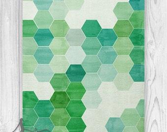 Hexagon Art Print, Geometric Wall Art, Hexagon Wall Art, Green Blue Watercolor Hexagon Wall Art Print, Geometric Gallery Abstract Art Print