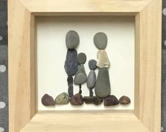 Family, Pebble Art, Family Picture, rustic home decor, unique gift, stone, OOAK, wall art, beach, seaside, family gift, rocks, stones, rock
