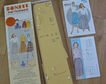 French adjustable sewing pattern kit for skirts 1980s Bonfit Patterner