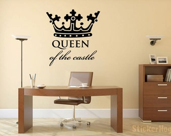 "Queen of the Castle Crown Wall Decal Vinyl Sticker 29x28"" Home Decor"