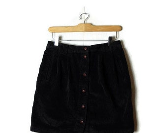 Vintage Black Corduroy Button down Skirt from 90's/W26-30*