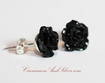 Black Rose and Sterling Silver Stud Earrings, Black Rose Flower Post Earrings, Victorian Rose Post Earrings, Gothic Rose Stud Earrings