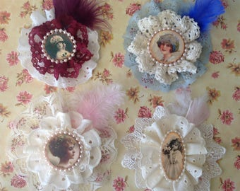 Set of Four Shabby Chic Embellishments, Vintage Girls/Ladies in Lacey Frames, Brooch and Hair Clip Decorations, Shabby Chic Decor