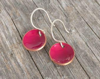 Fuscia Pink Painted Copper Earrings