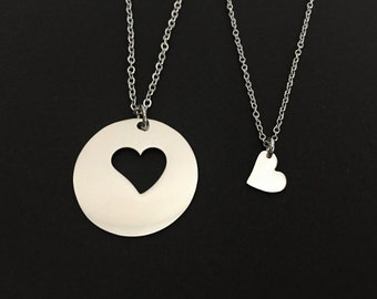 Two Heart Necklaces. Personalized Heart Necklace Set. Mother Daughter Necklaces. Matching Necklaces. Family Necklaces. Stainless Steel Heart