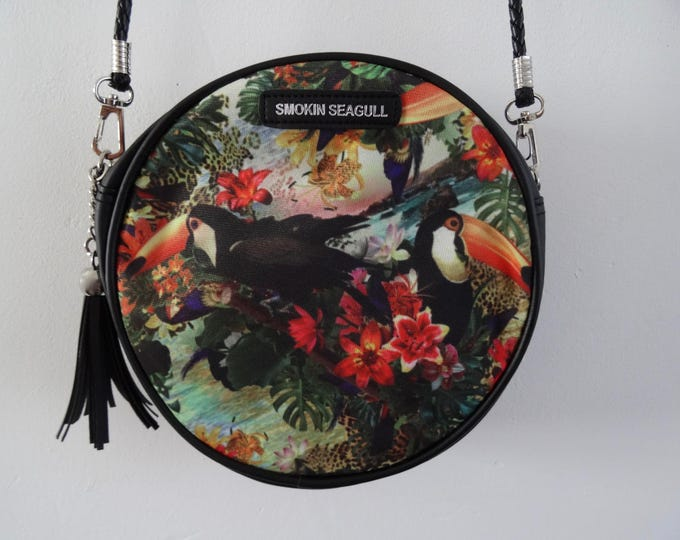 Tropical Toucan Round Handbag - Hibiscus Blue Summer Jungle Holiday Black Bag
