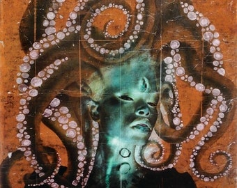 LARGE Octopus lady - Poster Print 12x18