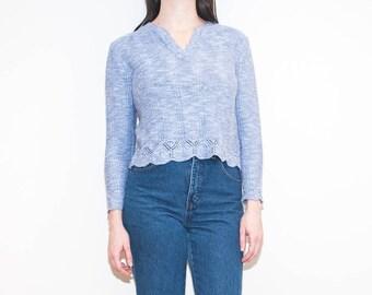 70s light heather blue knit / scalloped  v-neck crop pullover / size M