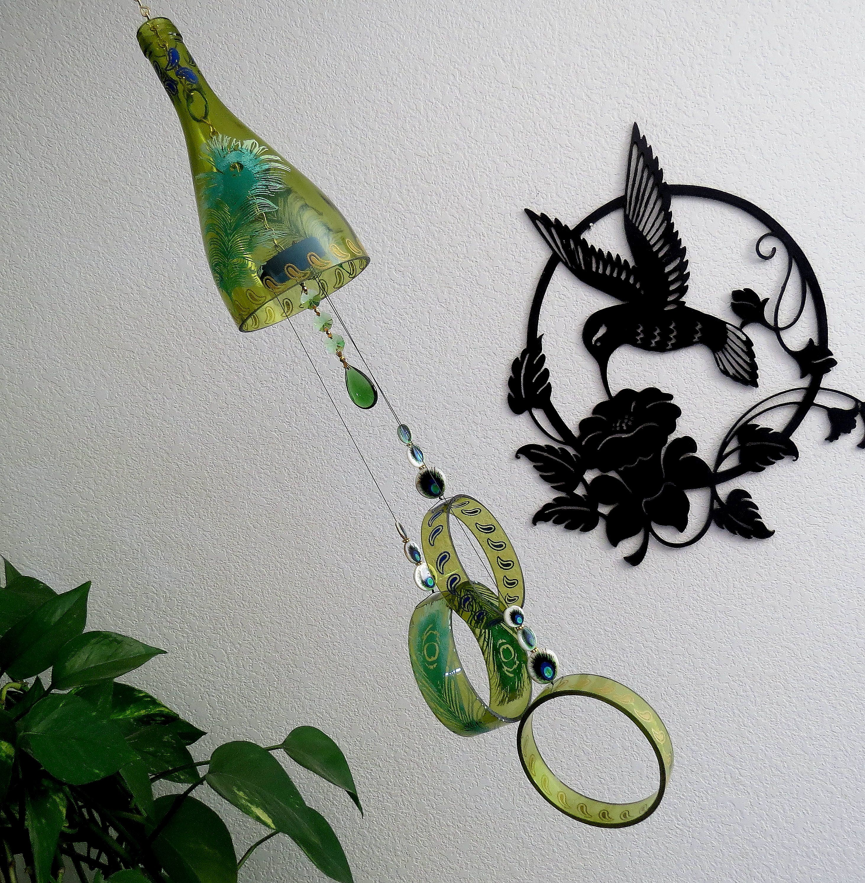 Large Wine Bottle Wind Chime, Yard Art, Patio Decor, Recycled Wine Bottle,  Peacock Feathers, Amber Glass, Wind Chime, Green Feathers