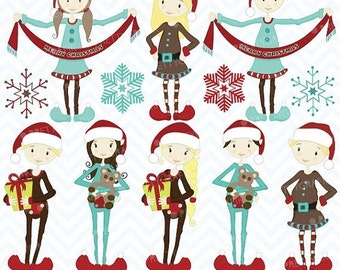 80% OFF SALE christmas elves clipart commercial use, vector graphics, digital clip art, digital images - Cl418