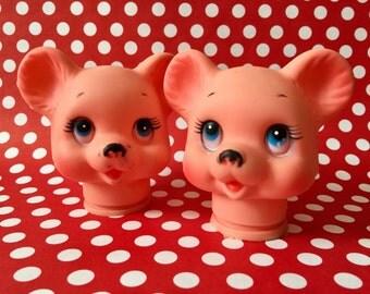 Vintage Bear Doll Head Pink Bear Animal Craft Supply Doll Assemblage Mixed Media Doll Crafting