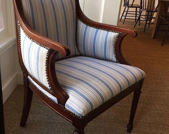 Vintage Blue and White Striped Nailhead Chair
