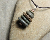 Handmade Natural Surf Tumbled 5 Beach Stone Stacked Cairn Necklace on Chain with Copper  Accent