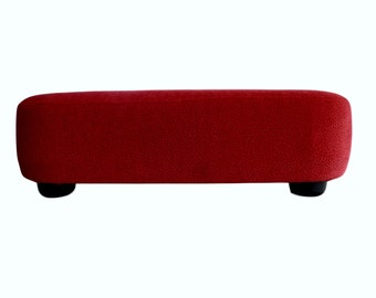 Upholstered footstool, footstool, footstool, size 40 x 27 cm, height 13 cm, reference: Flockvelour red, delivery time 6-9 days.