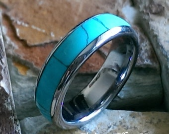 6mm Tungsten Carbide w/Turquoise Styled Inlay Domed Comfort Fit Mens Womens Personalized Wedding Band - Mens Jewelry ( FREE ENGRAVING )AZ123