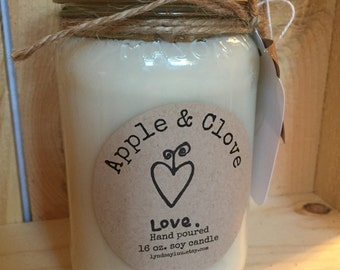 Hand Poured, APPLE & CLOVE scented, 100% Soy Candle in 16 oz. Glass Mason Jar with Cotton Wick