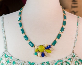 Midcentury Modern Teal and Lime Colorful Statement Bib Necklace Great Summer Jewelry