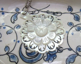 "Vintage ""BETHLEHEM"" Mother of Pearl Shell Pendant/Necklace....Carved Shell....Layered MOP Flower Pendant...Religious"