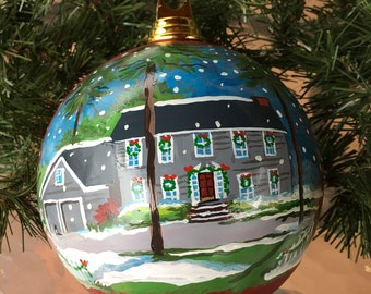 Your House Handpainted on a Christmas Ornament / Christmas Ornament with Your Home