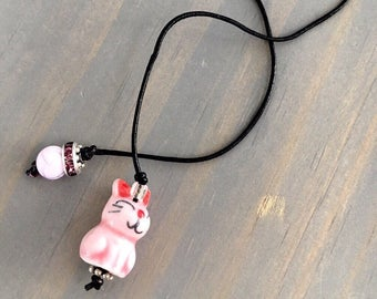 Pink Bunny Travelers Notebook Bookmark/ Planner Accessory/ Beaded Bookmark