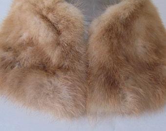 Vintage Blonde Mink Collar, Hand-Stitched Satin Lining