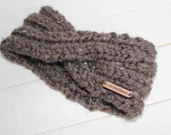 Turban Knit Headband / Twist Women's Knit Headband with Wooden Tag / LittlePinkRibbons / Warm / Women / Girls / Knitted