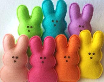 Felt Marshmallow Bunny Garland-Easter Decoration-Easter Garland-Felt Bunny-Bunny Decoration-Bunny Ornaments-Felt Easter Garland-Felt Garland