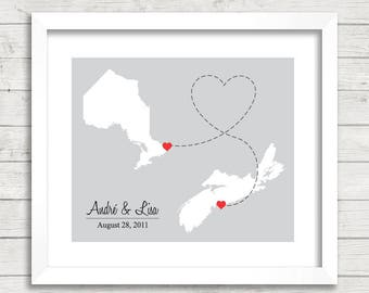 8x10 Canadian Provinces Love Map - Two Provinces, One Print - Halifax, Nova Scotia - Ottawa, Ontario - Canadian Family Map - East Coast