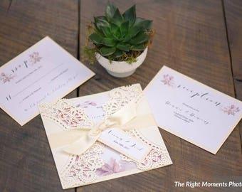 """Lasercut Watercolour Wedding Invitations - """"The Vivian Suite"""" -  Laser cut wedding Invitations/watercolour invitation"""