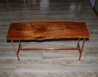 Delightful Cherry Wood Table With Copper Legs