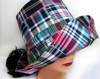Sun Hat for Ladies - Madras Hat - Plaid Hat - Roll Brim Hat -  Patchwork Hat - Made in Maine - Bucket Hat - Madras Sun Hat - Preppy Sun Hat