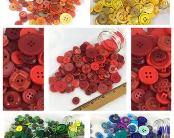 Big Lot of Mixed Vintage to Now Buttons in Colors of Rainbow, Red, Orange, Yellow, Green, Blue, Purple Button Lot, button lot 246