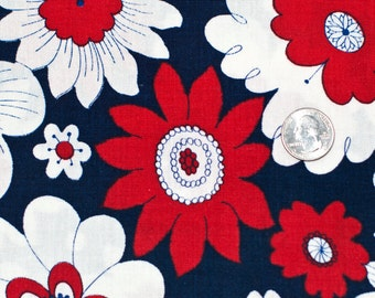 Red, blue, and white floral fabric