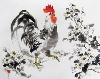Japanese Ink Painting Japanese art Sumi-e Suibokuga Asian art Large 18x19 inch Rooster among White Chrisanthemums