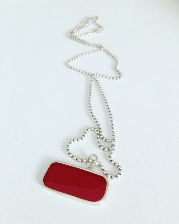 Red resin and recycled silver pendant