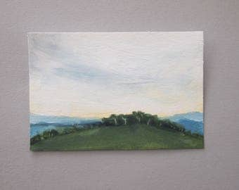 Small Oil Painting Paper English Landscape Skyscape Countryside Blue Grey Green Art Original Clouds Cloudscape Plein Air Evening Sky Outdoor