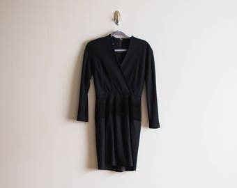 Vintage Black Long Sleeve Wrap Dress With Leather Detail