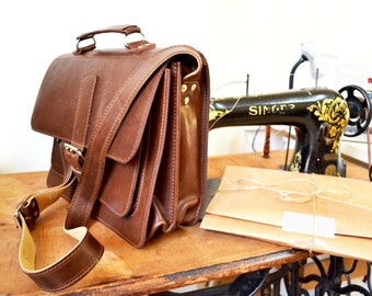 Handmade in London,Leather Messenger-Laptop bag  ,100% Natural Cow Leather